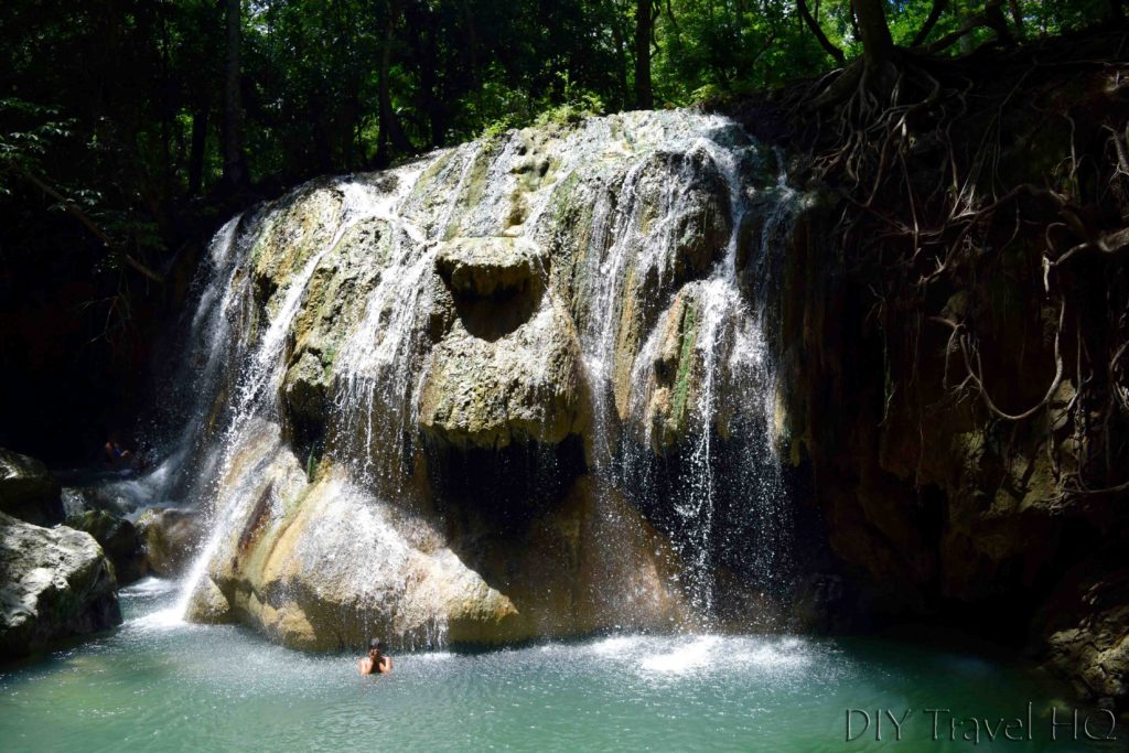 Finca el Paraiso Soaking in Hot Spring Waterfall