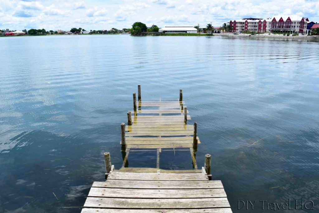 Flores Lago de Peten Itza Rising Over Dock