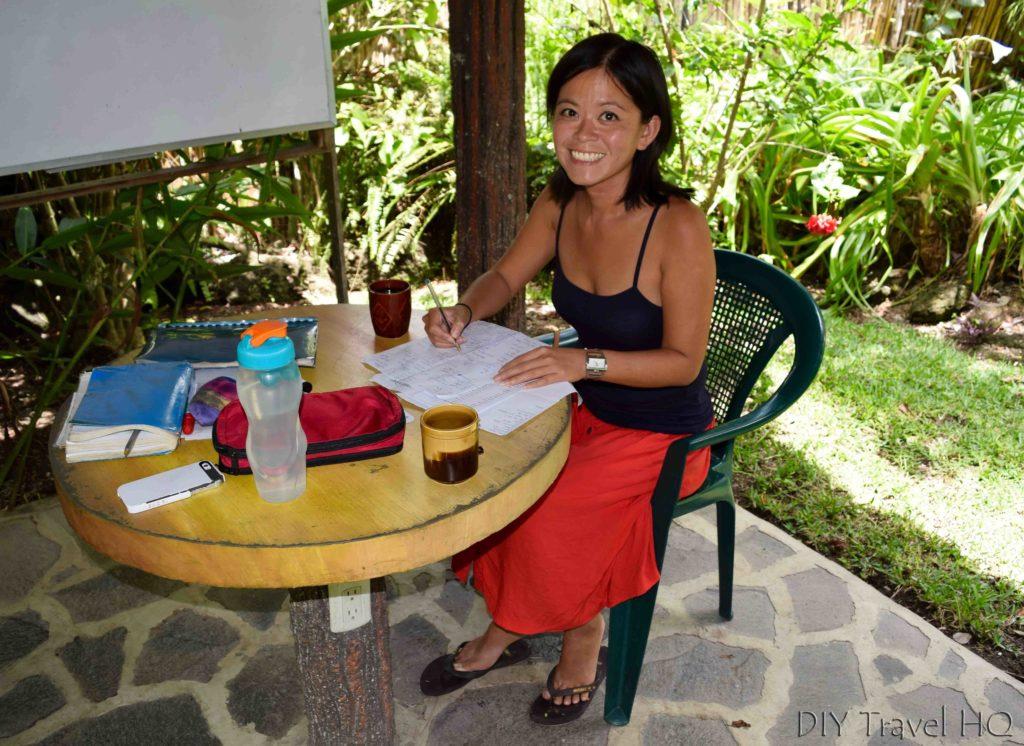Me studying at San Pedro Spanish School