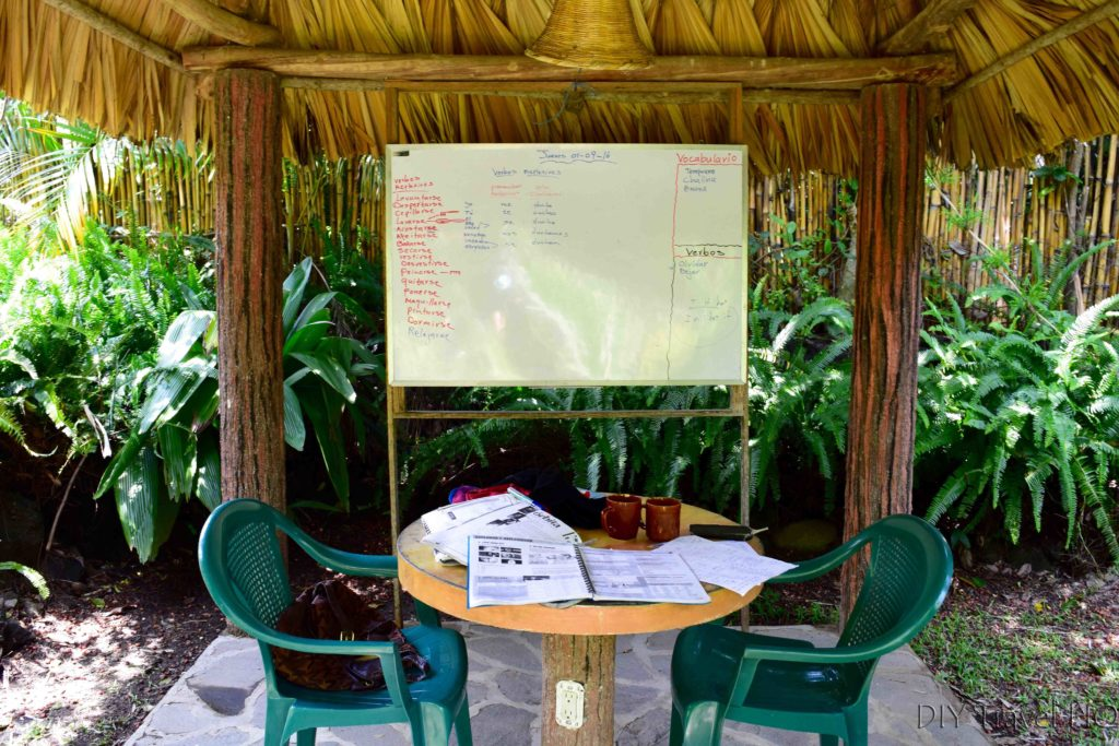 Blackboard classroom at San Pedro Spanish School