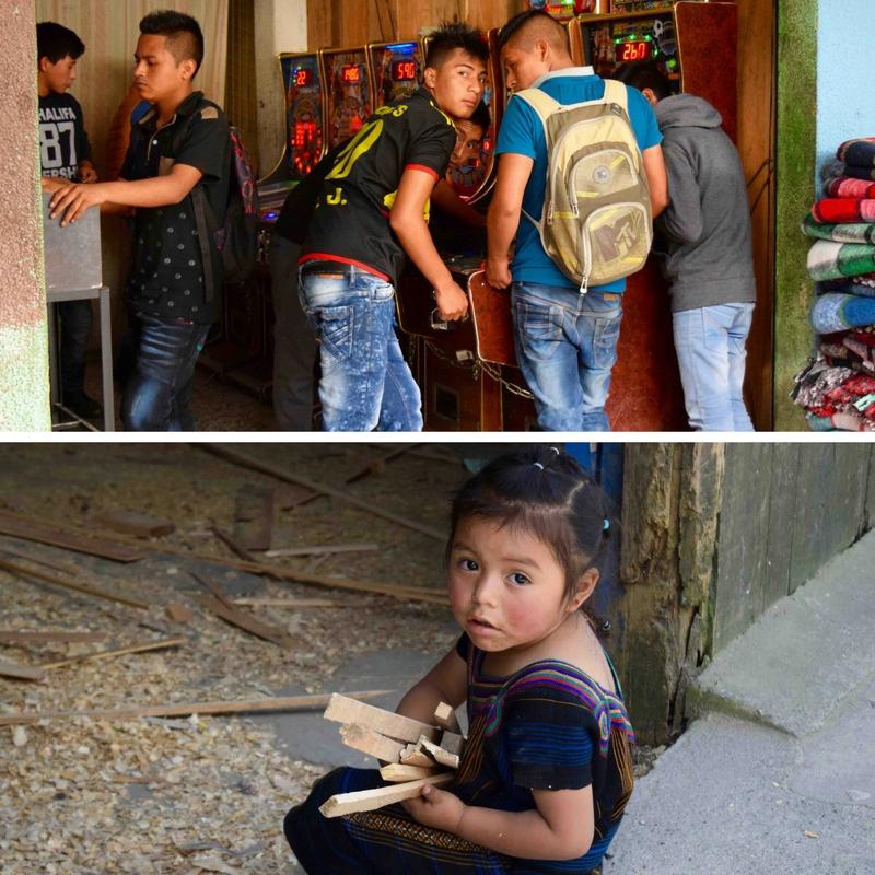 Nebaj Teenagers Playing Pinball and Girl Collecting Wood Scraps