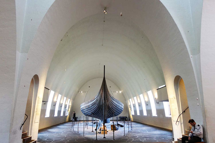 Viking Ship in a big white arched room