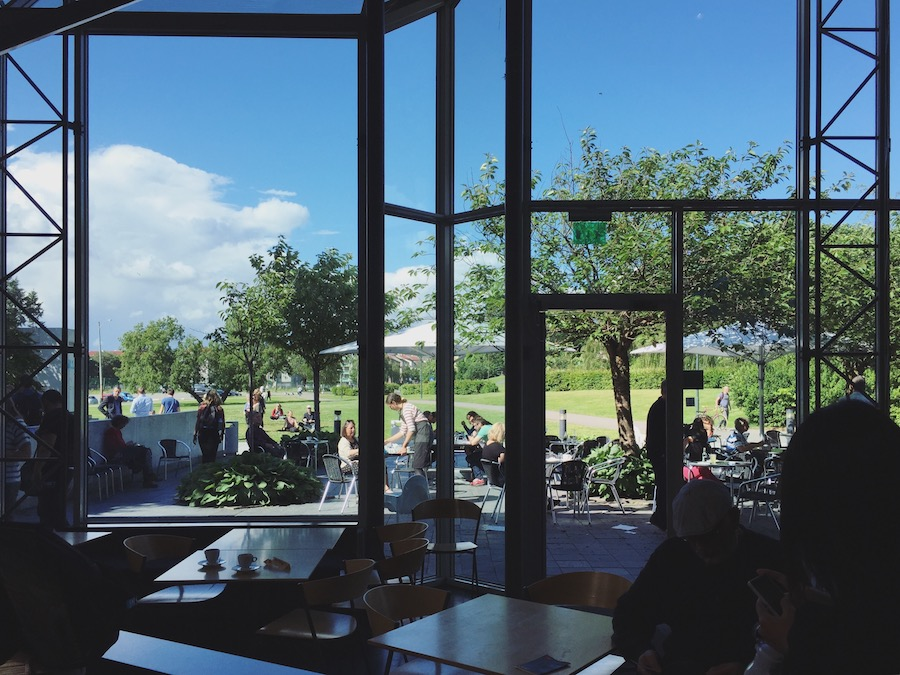 Cafe with big windows and view of park