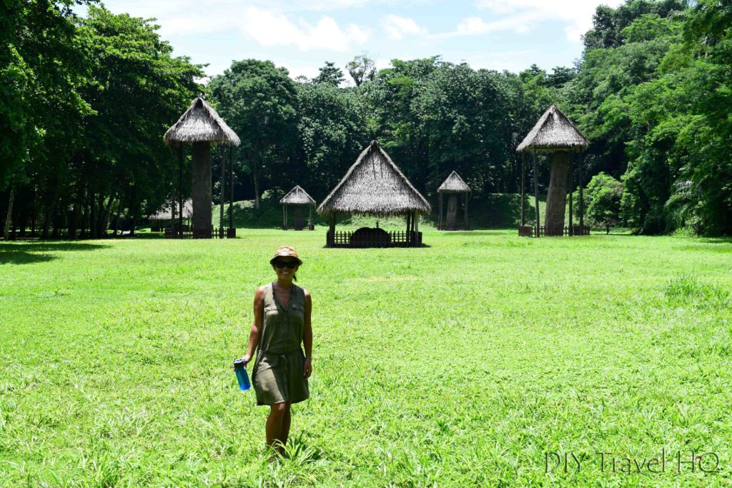 Quirigua Central Plaza with Sheena and Lifestraw