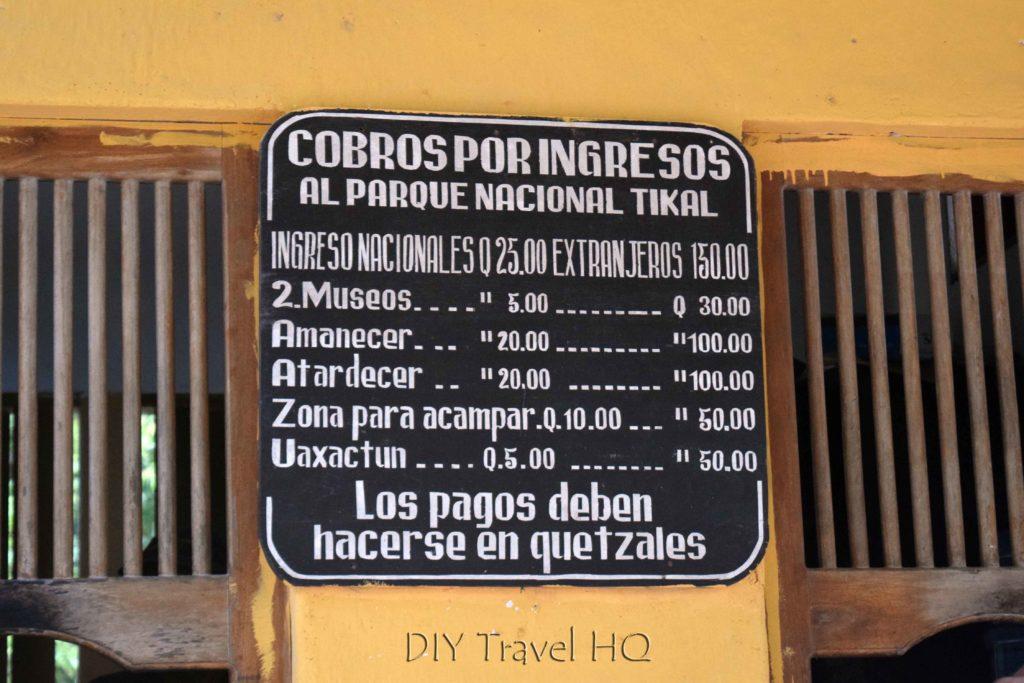 Tikal Ticket Prices
