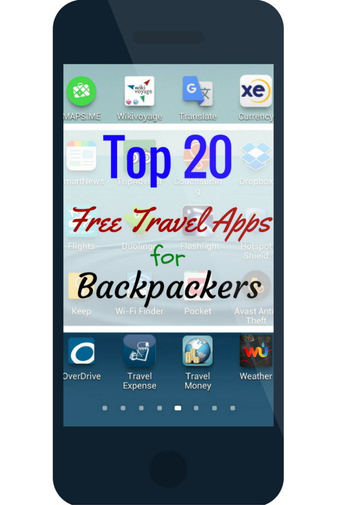 Top 20 Free Travel Apps for Backpackers - Travel apps make traveling easier, and who doesn't want that when you are out exploring each day. Find out the top 20 travel apps for backpackers below. Mapsme. Wikivoyage. Google Translate. XE Currency. SmartNews. TripAdvisor. Couchsurfing. Dropbox. SkyScanner. DuoLingo. Brightest LED Flashlight. Hotspot Shield. Google Keep. Wi-Fi Finder. Pocket. Prey Anti Theft. OverDrive. TravelExpense. TravelMoney. Weather Underground.