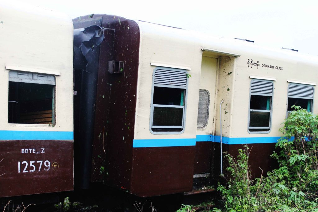 Train carriage after derailment