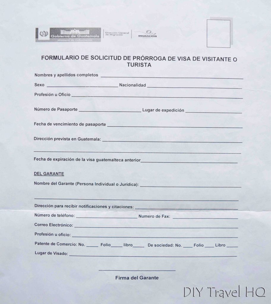 Central America visa form