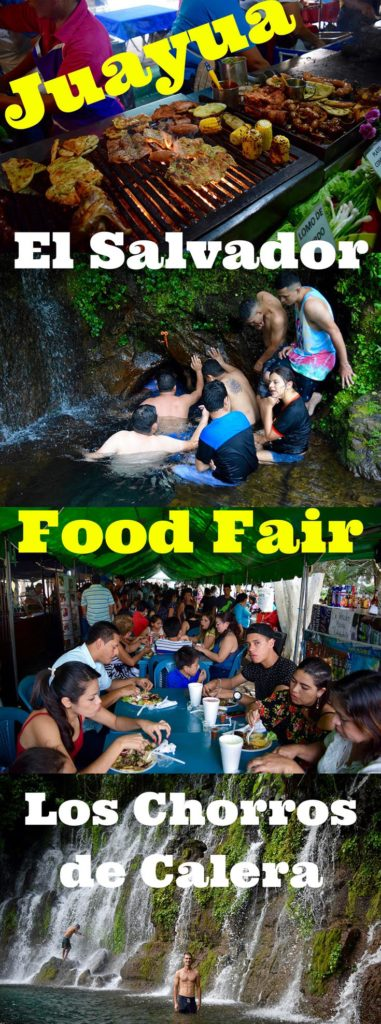 Juayua, El Salvador is the most popular village on Ruta de las Flores with their weekly food fair. Los Chorros de Calera is also a fun swimming hole just outside town. Find out what is on the menu inside. Feria gastronomica allows tourists to sample some of the best cuisine in the region. The meals on offer cost $5 to $6, and are a better version of menu del dia. Expect to find traditional grilled beef alongside paella, surf-and-turf skewers, barbecued rabbit, and other dishes.