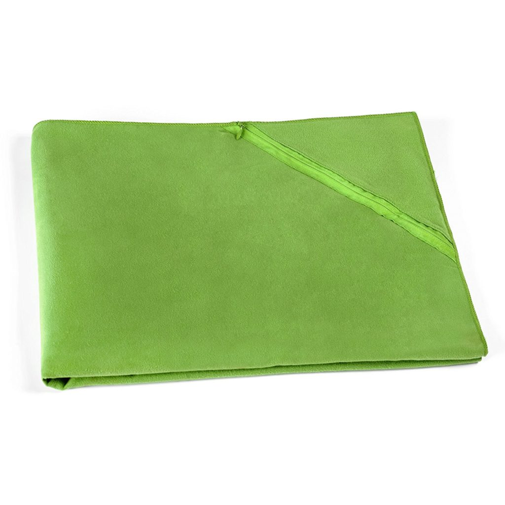 ECOdept Large Microfiber Travel Towel Corner Zip Pocket