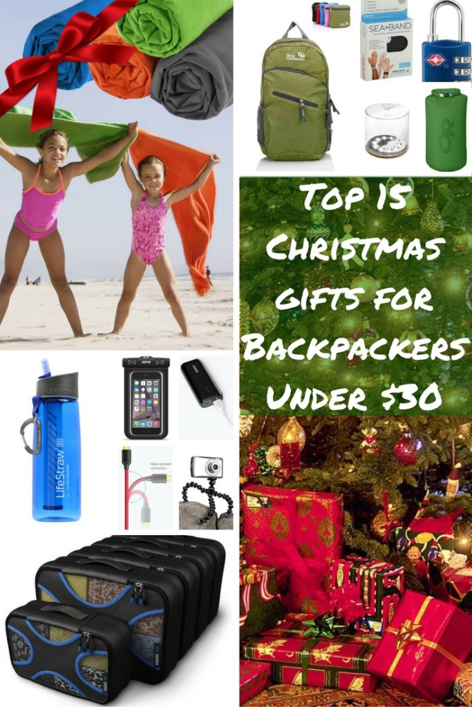 Backpackers are difficult to shop for as space and weight are at a premium. We offer 15 Christmas gift ideas under $30 on Amazon.com that they may not have, or upgrades for existing gear. Find out more info on LifeStraw, packing cubes, microfiber travel towel, Gorillapod tripod with GoPro adapters, foldaway daypack backpack, snorkel & mask, dry sack, smartphone waterproof case, Sea-bands, inflatable solar light, power bank, dual USB wall charger with cables, money belt, TSA locks, & more.