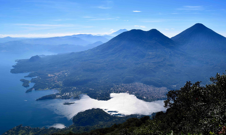 Volcan San Pedro View Over Lake Atitlan Surrounding Villages