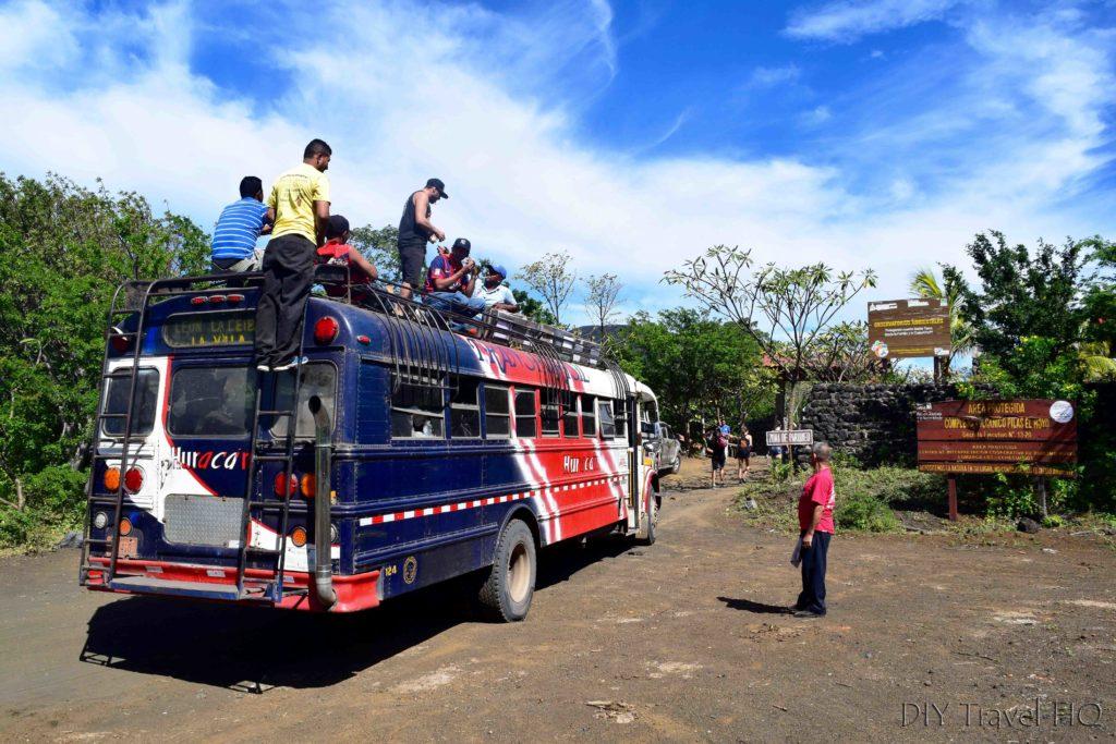 Bigfoot Hostel Chicken Bus at Cerro Negro for Volcano Boarding