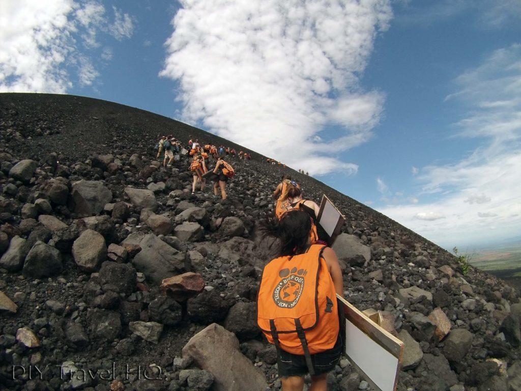 Climbing Cerro Negro with Boards