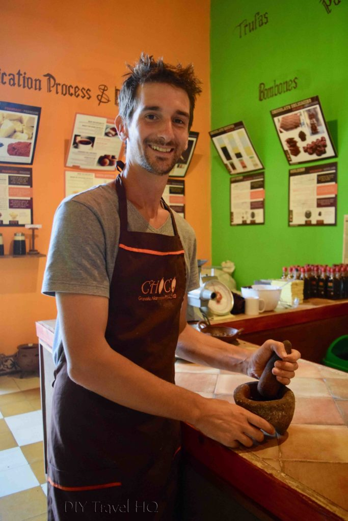 Grinding Cacao Beans into Paste