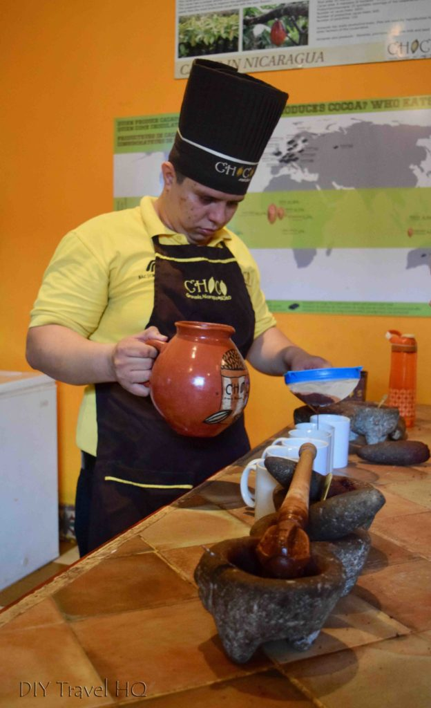 Pouring the Aztec Chocolate Drink