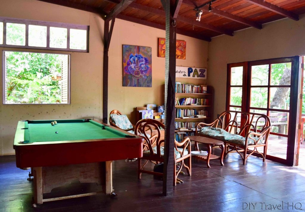 The Peace Project Main Lounge with Billiards & Book Exchange