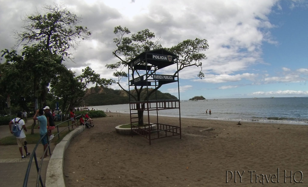 Sirenas Diving Meeting Point by Police Station Stand on Playas del Cocos