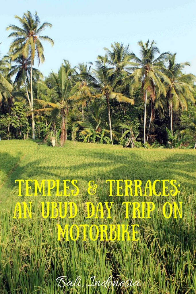 The best of Ubud in Bali, Indonesia lies outside the city center, best explored on motorbike: Goa Gajah, Gunung Kawi, Tirta Empul, Pura Kehen & Tegalalang Rice Terraces.