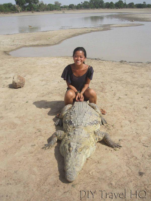 Parc Crocodile de Bazoule: Sitting on a Croc in Burkina Faso