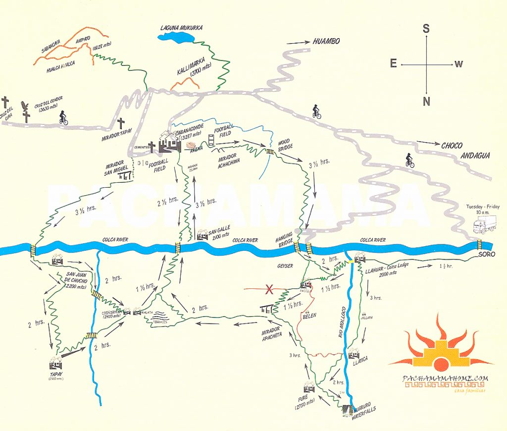 Colca Canyon trek map