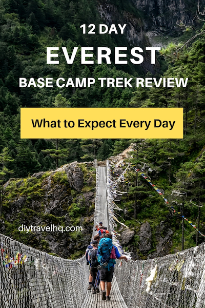2 people crossing suspension bridge on Everest Base Camp trek