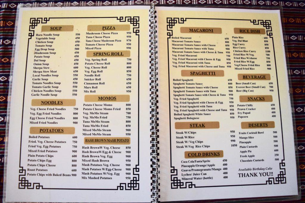 Gorak Shep menu