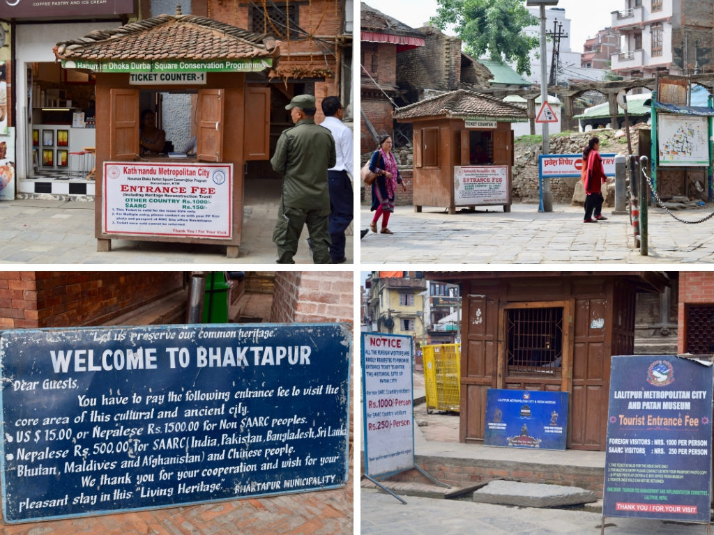 Entrance fee signs at Durbar Square