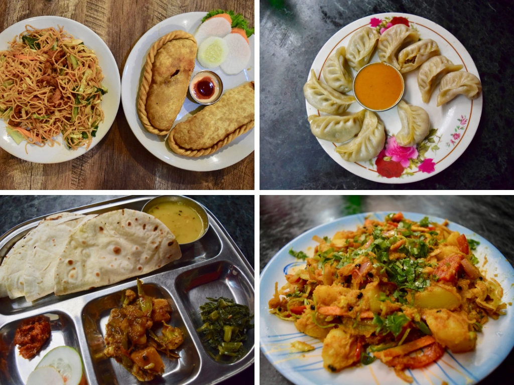 4 photos of various Nepalese dishes