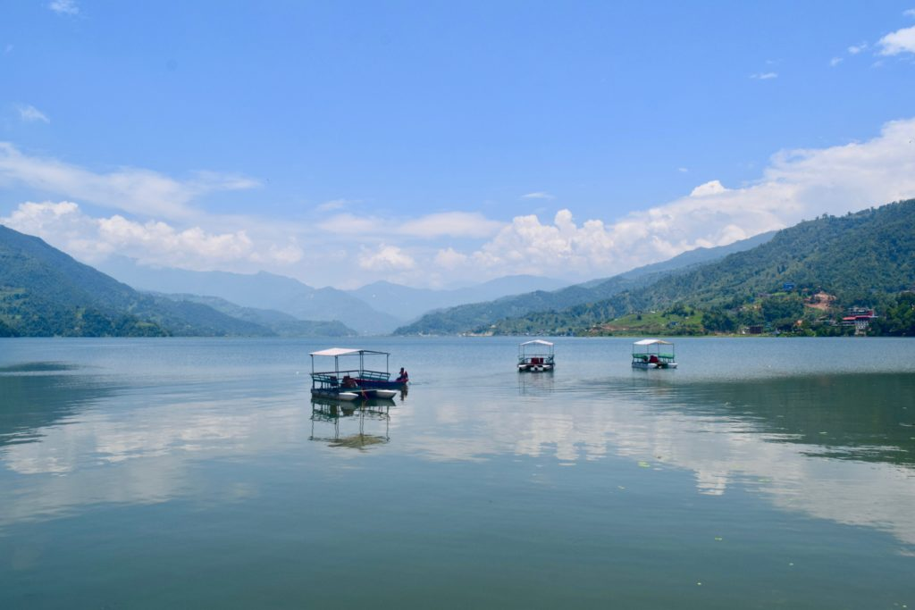 Pokhara lake with boats