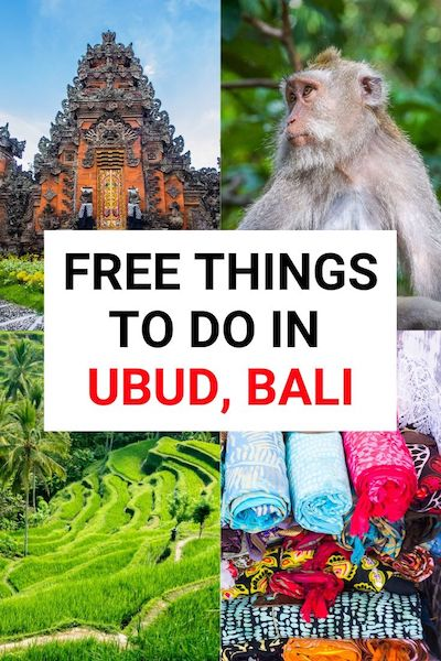 There are so many free things to do in Ubud, Bali! From markets to temples check out our post to see all the beautiful places in Ubud as well as info on budget food and accommodation. Ubud is definitely one of the top places to visit in Indonesia! #ubud #bali #asiatravel #diytravel