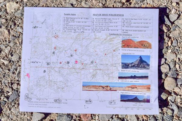 Bisti Badlands Map