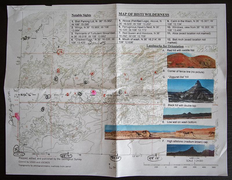 Bisti Badlands Hiking Map with GPS Coordinates