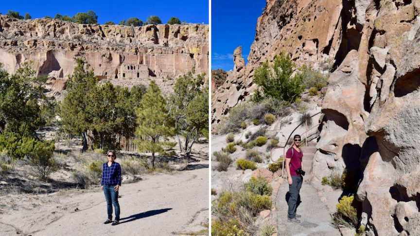 2 photos of 2 people at Puye and Bandelier