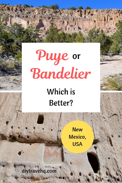 2 photos of Puye and Bandelier cliff dwelling