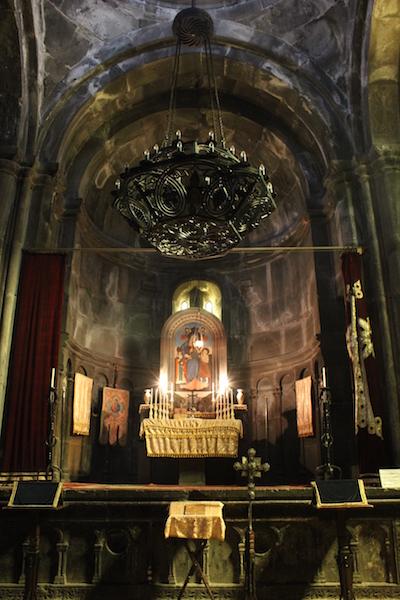 Inside Katoghike Chapel at Geghard Monastery