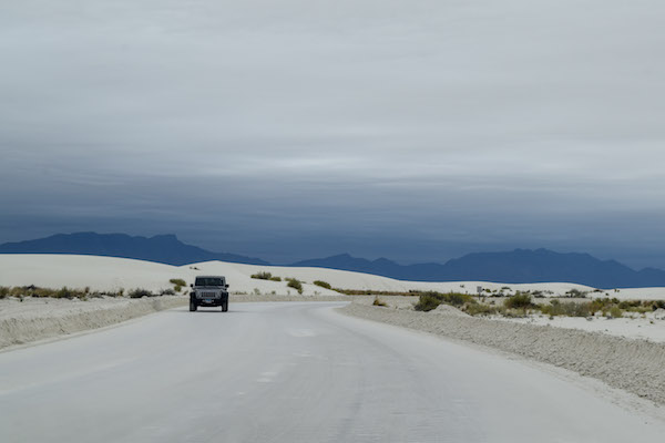 Car on the road in White Sands