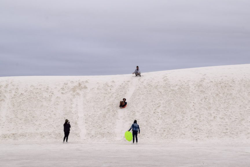 Sledding at White Sands NM
