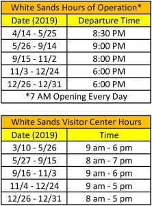 White Sands National Monument and Visitor Center Hours of Operation