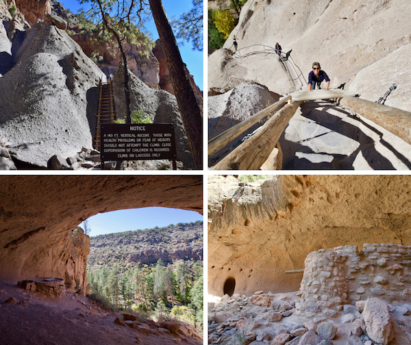 4 pic collage of Alcove House at Bandelier