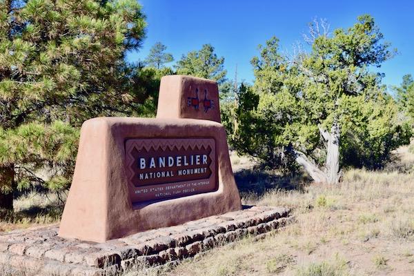 Bandelier National Park entrance sign