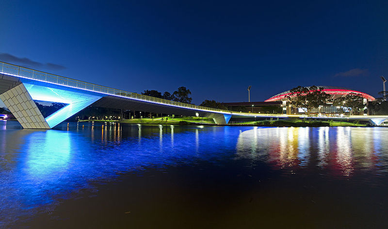 Night view with lights at Riverbank bridge - What to see in Adelaide