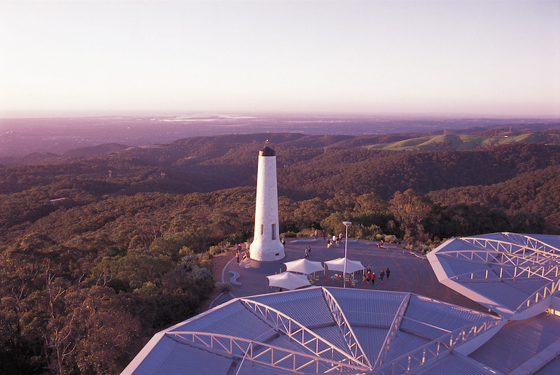 Birds eye view of Mt lofty summit with tower and surrounding mountains