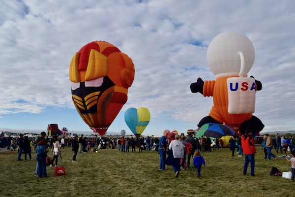 Hot air balloons in a field