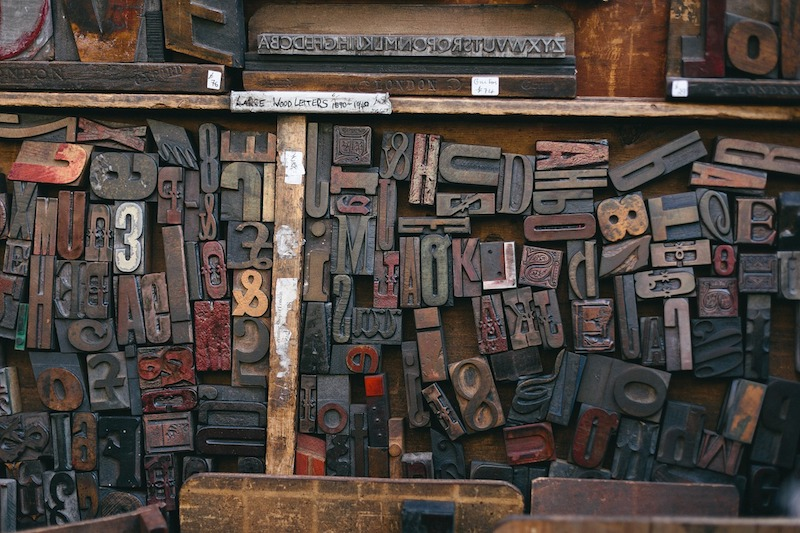 Woodtype printing blocks