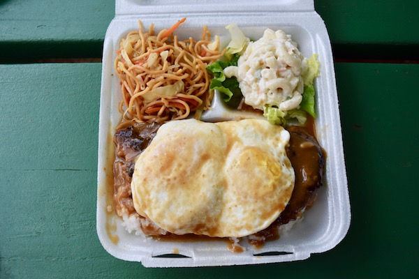 Loco Moco plate lunch - mix of dishes in styrofoam box