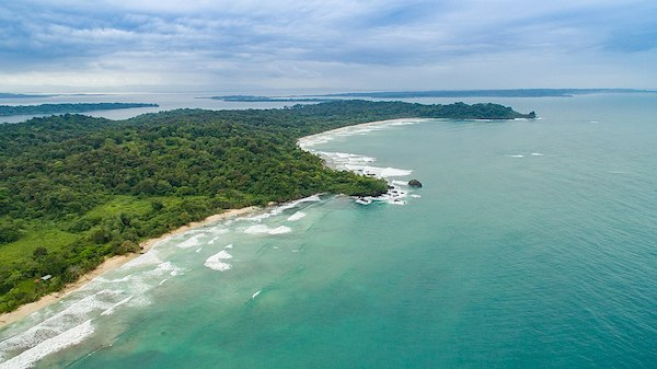 Aerial shot of Isla Bastimentos; one of the best places to visit in Panama