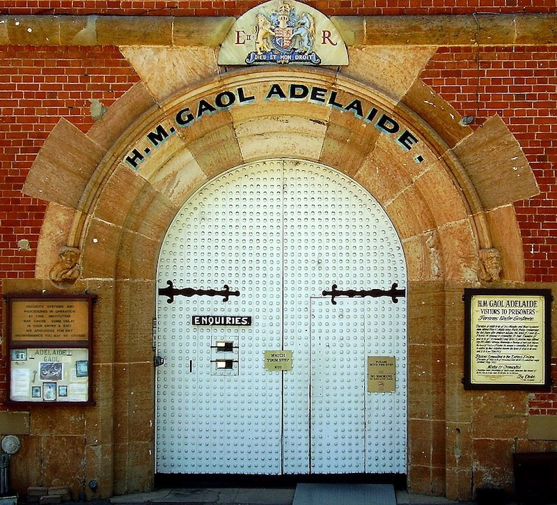 Outside of Adelaide Gaol door entrance - Unique things to do in Adelaide
