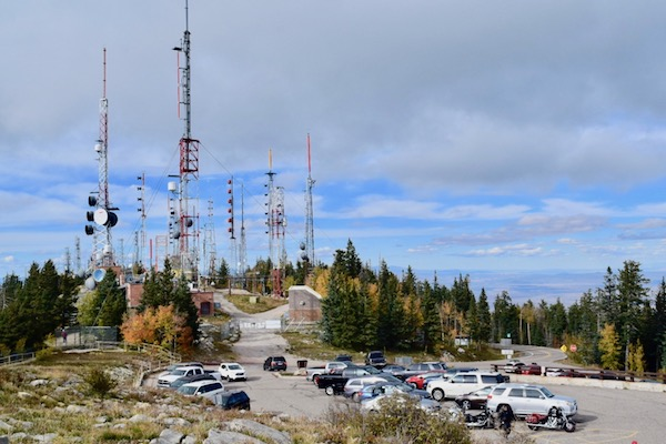 Car park with satellites at Sandia Peak