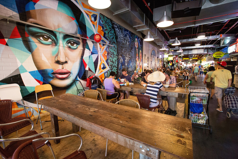 Dining and wall mural at Central Market - Where to go in Adelaide